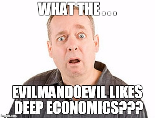 WHAT THE . . . EVILMANDOEVIL LIKES DEEP ECONOMICS??? | made w/ Imgflip meme maker