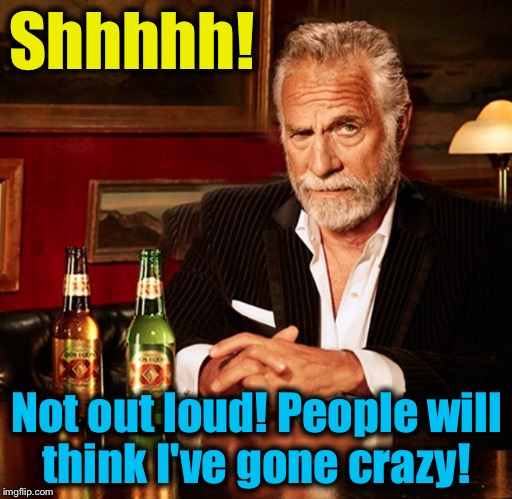 Shhhhh! Not out loud! People will think I've gone crazy! | made w/ Imgflip meme maker