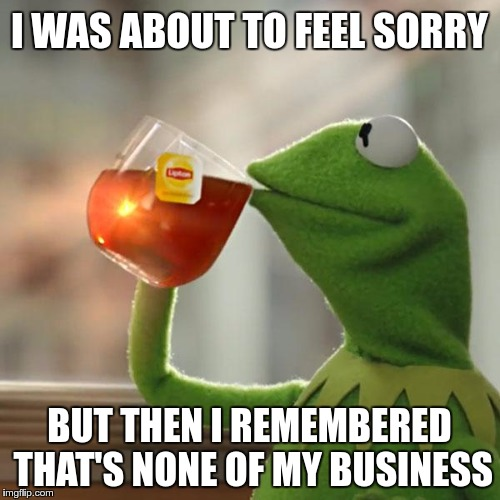 But Thats None Of My Business Meme | I WAS ABOUT TO FEEL SORRY BUT THEN I REMEMBERED THAT'S NONE OF MY BUSINESS | image tagged in memes,but thats none of my business,kermit the frog | made w/ Imgflip meme maker