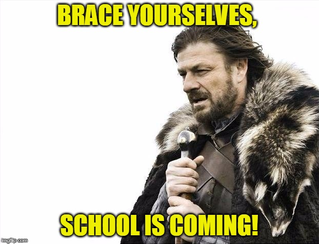 That moment when you realize it's July 31st and you remember that after next month, school is coming back! :( | BRACE YOURSELVES, SCHOOL IS COMING! | image tagged in memes,brace yourselves x is coming | made w/ Imgflip meme maker