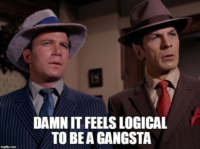 DAMN IT FEELS LOGICAL TO BE A GANGSTA | image tagged in spock kirk gangstas | made w/ Imgflip meme maker