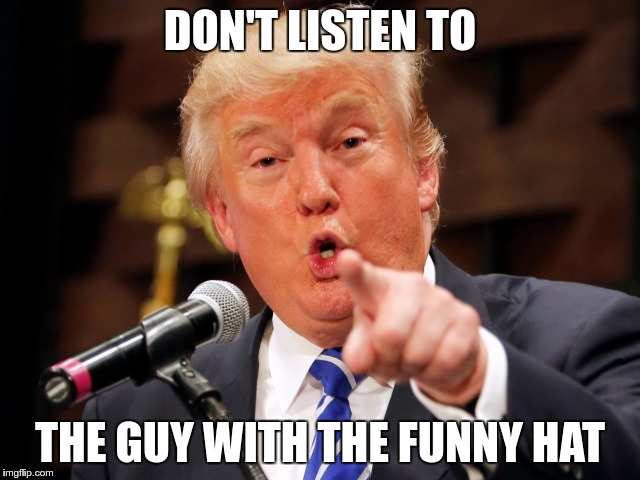Trump You! | DON'T LISTEN TO THE GUY WITH THE FUNNY HAT | image tagged in trump you | made w/ Imgflip meme maker