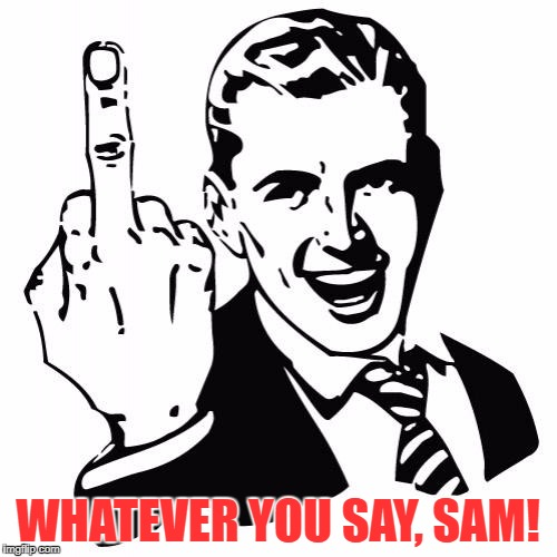 WHATEVER YOU SAY, SAM! | made w/ Imgflip meme maker