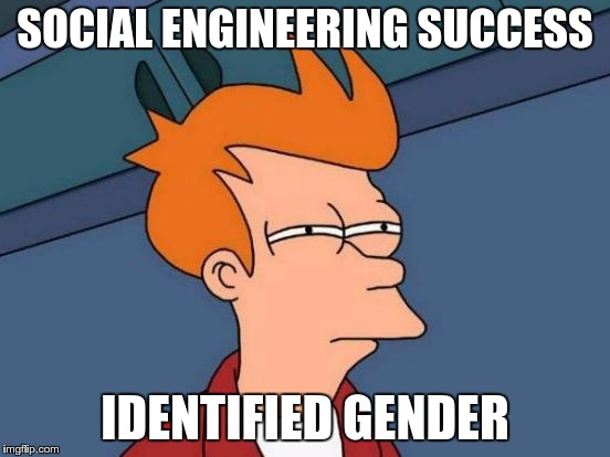 Futurama Fry Meme | SOCIAL ENGINEERING SUCCESS IDENTIFIED GENDER | image tagged in memes,futurama fry | made w/ Imgflip meme maker