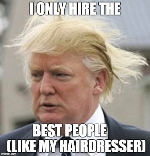 Donald Trump 1 | I ONLY HIRE THE BEST PEOPLE     (LIKE MY HAIRDRESSER) | image tagged in donald trump 1 | made w/ Imgflip meme maker