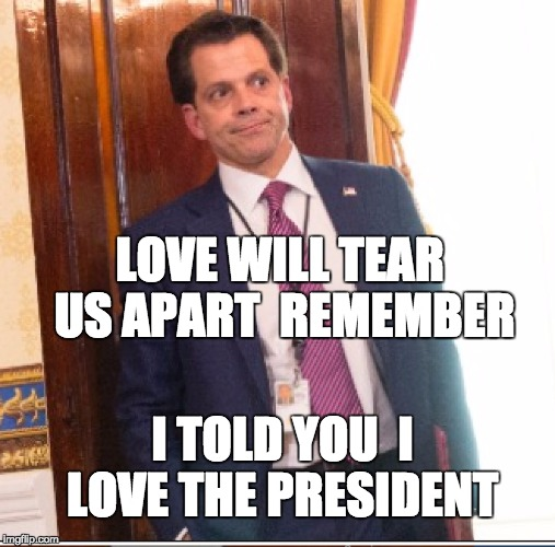 love will tear us apart | LOVE WILL TEAR US APART  REMEMBER I TOLD YOU  I LOVE THE PRESIDENT | image tagged in scaramucci,loyalty,loyal,betrayal,donald trump approves,post-truth | made w/ Imgflip meme maker