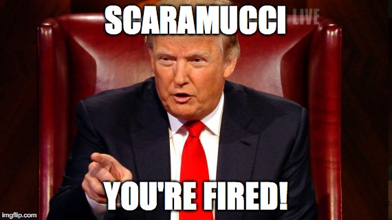 Scaramucci you're fired! | SCARAMUCCI YOU'RE FIRED! | image tagged in trump,donald trump,scaramucci | made w/ Imgflip meme maker