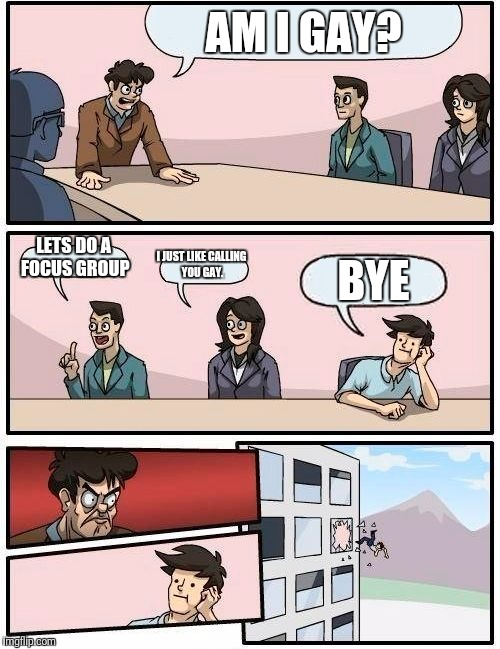 Boardroom Meeting Suggestion Meme | AM I GAY? LETS DO A FOCUS GROUP I JUST LIKE CALLING YOU GAY. BYE | image tagged in memes,boardroom meeting suggestion | made w/ Imgflip meme maker