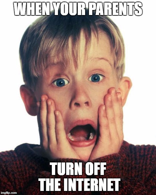 WHEN YOUR PARENTS TURN OFF THE INTERNET | image tagged in home alone scream | made w/ Imgflip meme maker