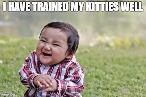 Evil Toddler Meme | I HAVE TRAINED MY KITTIES WELL | image tagged in memes,evil toddler | made w/ Imgflip meme maker