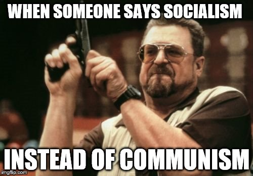 Am I The Only One Around Here Meme | WHEN SOMEONE SAYS SOCIALISM INSTEAD OF COMMUNISM | image tagged in memes,am i the only one around here | made w/ Imgflip meme maker