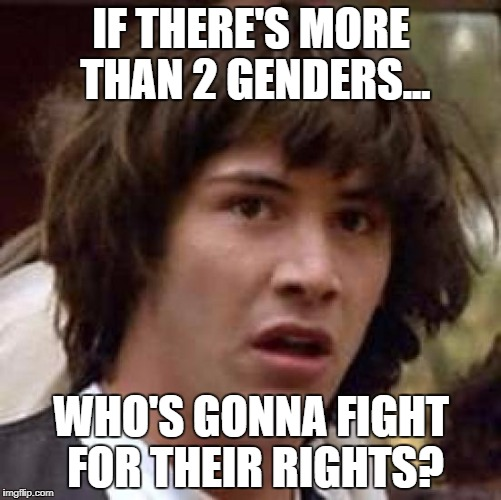 Conspiracy Keanu Meme | IF THERE'S MORE THAN 2 GENDERS... WHO'S GONNA FIGHT FOR THEIR RIGHTS? | image tagged in memes,conspiracy keanu | made w/ Imgflip meme maker