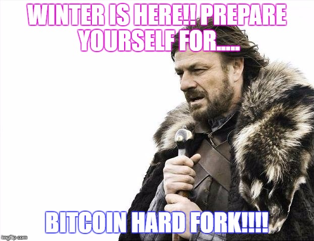 Brace Yourselves X is Coming Meme | WINTER IS HERE!! PREPARE YOURSELF FOR..... BITCOIN HARD FORK!!!! | image tagged in memes,brace yourselves x is coming | made w/ Imgflip meme maker