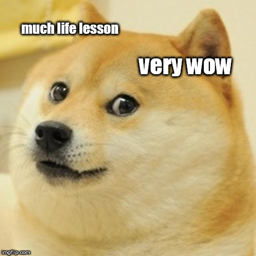 Doge Meme | much life lesson very wow | image tagged in memes,doge | made w/ Imgflip meme maker