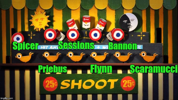 Spicer Priebus Scaramucci Bannon Flynn Sessions | image tagged in carnival shooting gallery | made w/ Imgflip meme maker