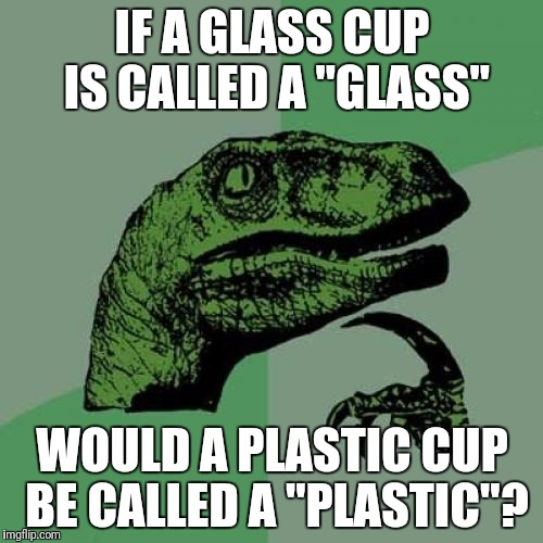 "Philosoraptor Meme | IF A GLASS CUP IS CALLED A ""GLASS"" WOULD A PLASTIC CUP BE CALLED A ""PLASTIC""? 