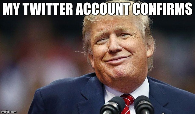 Trump Oopsie | MY TWITTER ACCOUNT CONFIRMS | image tagged in trump oopsie | made w/ Imgflip meme maker