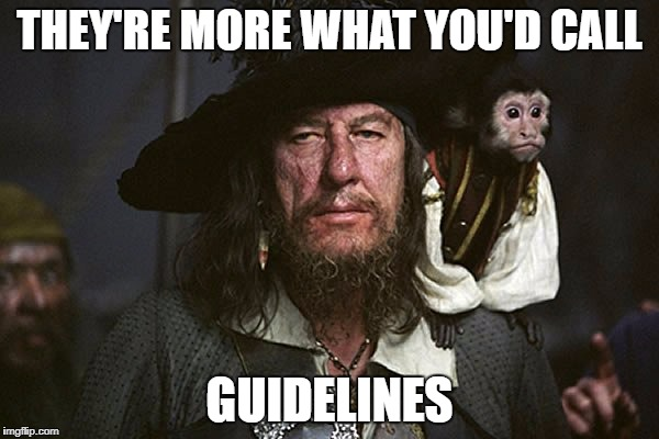 Captain Barbossa | THEY'RE MORE WHAT YOU'D CALL GUIDELINES | image tagged in captain barbossa | made w/ Imgflip meme maker