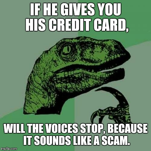 Philosoraptor Meme | IF HE GIVES YOU HIS CREDIT CARD, WILL THE VOICES STOP, BECAUSE IT SOUNDS LIKE A SCAM. | image tagged in memes,philosoraptor | made w/ Imgflip meme maker