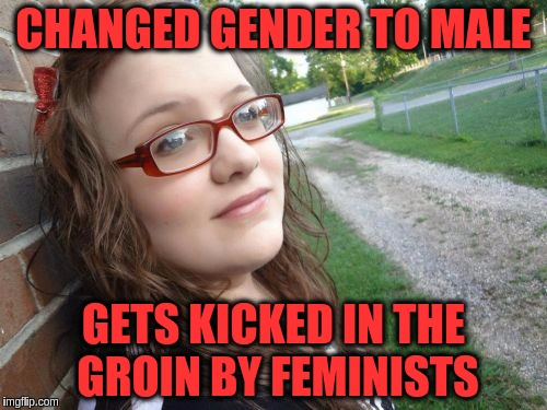 Bad Luck Hannah | CHANGED GENDER TO MALE GETS KICKED IN THE GROIN BY FEMINISTS | image tagged in memes,bad luck hannah,funny,lgbt,triggered feminist | made w/ Imgflip meme maker
