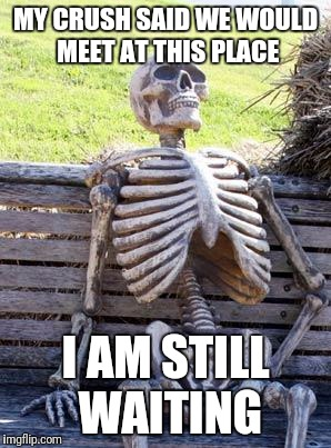 I am still waiting for my crush.... | MY CRUSH SAID WE WOULD MEET AT THIS PLACE I AM STILL WAITING | image tagged in memes,waiting skeleton | made w/ Imgflip meme maker