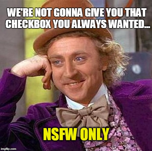 CREEPY CONDASCENDING WANKA | WE'RE NOT GONNA GIVE YOU THAT CHECKBOX YOU ALWAYS WANTED... NSFW ONLY | image tagged in memes,creepy condescending wonka | made w/ Imgflip meme maker