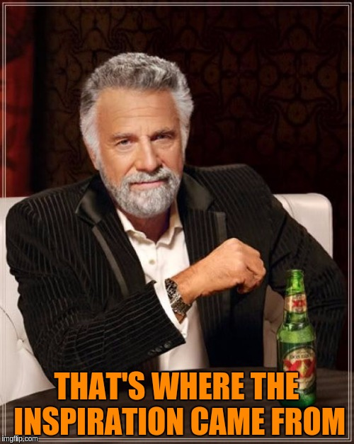 The Most Interesting Man In The World Meme | THAT'S WHERE THE INSPIRATION CAME FROM | image tagged in memes,the most interesting man in the world | made w/ Imgflip meme maker