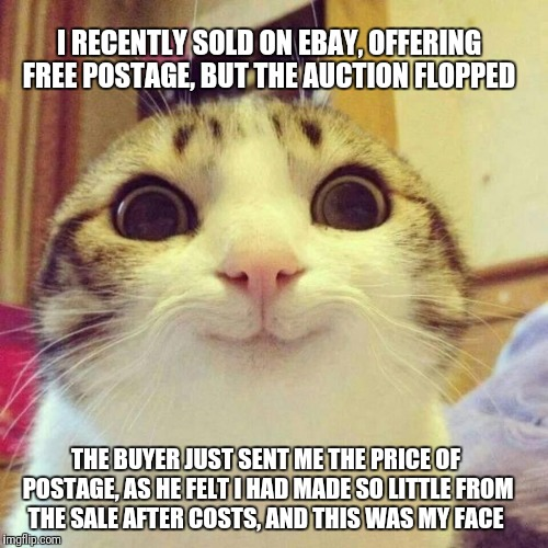 There are some really nice people out there :) | I RECENTLY SOLD ON EBAY, OFFERING FREE POSTAGE, BUT THE AUCTION FLOPPED THE BUYER JUST SENT ME THE PRICE OF POSTAGE, AS HE FELT I HAD MADE S | image tagged in smiley cat,ebay | made w/ Imgflip meme maker