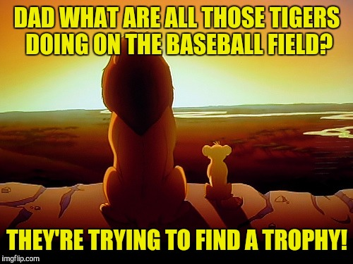 DAD WHAT ARE ALL THOSE TIGERS DOING ON THE BASEBALL FIELD? THEY'RE TRYING TO FIND A TROPHY! | made w/ Imgflip meme maker