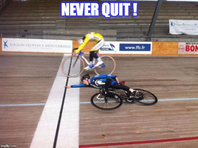 NEVER QUIT ! | image tagged in lols | made w/ Imgflip meme maker