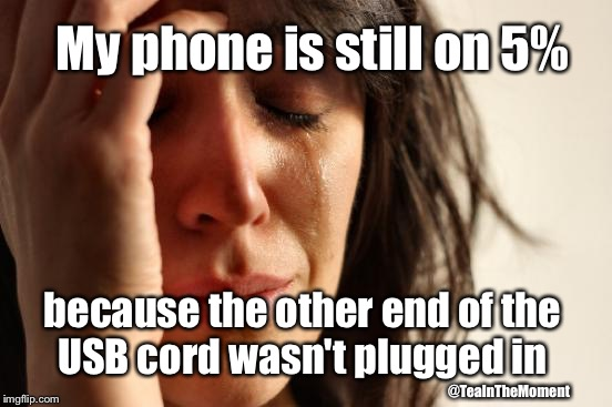 First World Problems Meme | My phone is still on 5% because the other end of the USB cord wasn't plugged in @TeaInTheMoment | image tagged in memes,first world problems | made w/ Imgflip meme maker