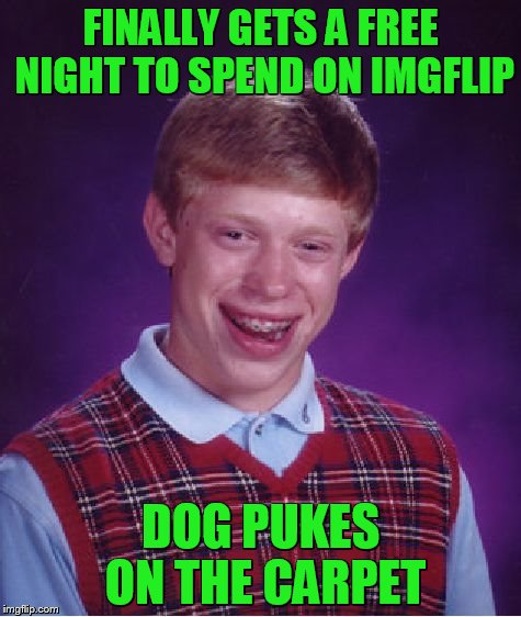 Bad Luck Brian Meme | FINALLY GETS A FREE NIGHT TO SPEND ON IMGFLIP DOG PUKES ON THE CARPET | image tagged in memes,bad luck brian | made w/ Imgflip meme maker