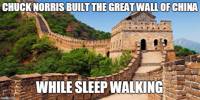 Chuck Norris Great Wall | CHUCK NORRIS BUILT THE GREAT WALL OF CHINA WHILE SLEEP WALKING | image tagged in great wall of china,chuck norris,memes | made w/ Imgflip meme maker