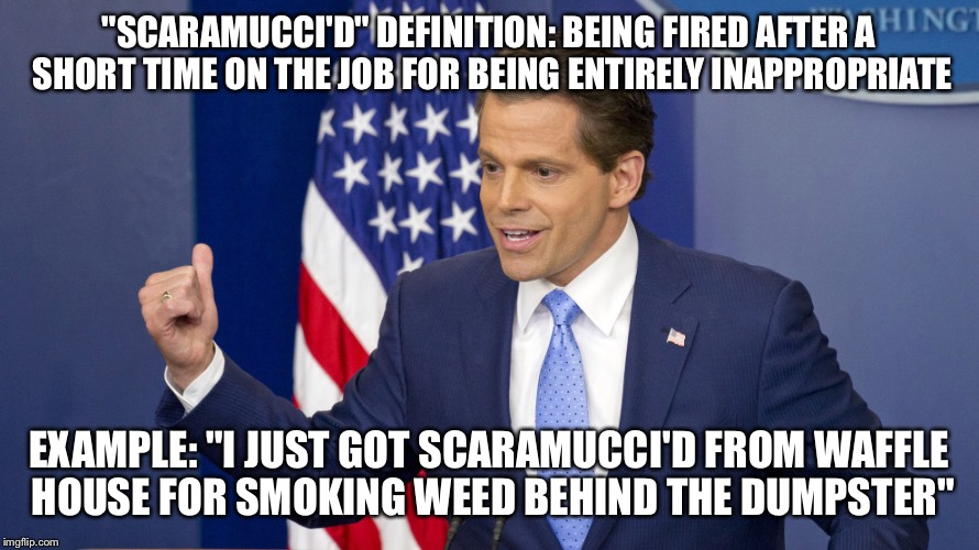 """SCARAMUCCI'D"" DEFINITION: BEING FIRED AFTER A SHORT TIME ON THE JOB FOR BEING ENTIRELY INAPPROPRIATE EXAMPLE: ""I JUST GOT SCARAMUCCI'D FROM 