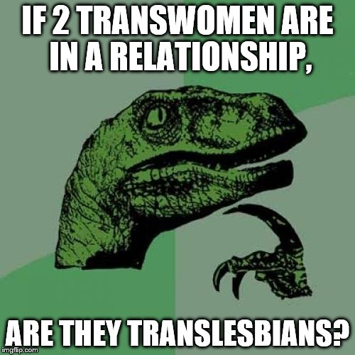 Philosoraptor Meme | IF 2 TRANSWOMEN ARE IN A RELATIONSHIP, ARE THEY TRANSLESBIANS? | image tagged in memes,philosoraptor | made w/ Imgflip meme maker