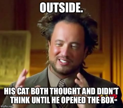 Ancient Aliens Meme | OUTSIDE. HIS CAT BOTH THOUGHT AND DIDN'T THINK UNTIL HE OPENED THE BOX | image tagged in memes,ancient aliens | made w/ Imgflip meme maker