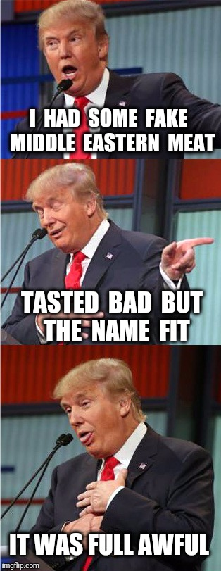 It's actually quite delicious. | I  HAD  SOME  FAKE  MIDDLE  EASTERN  MEAT TASTED  BAD  BUT  THE  NAME  FIT IT WAS FULL AWFUL | image tagged in bad pun trump,middle east,meat,vegan,veganism | made w/ Imgflip meme maker