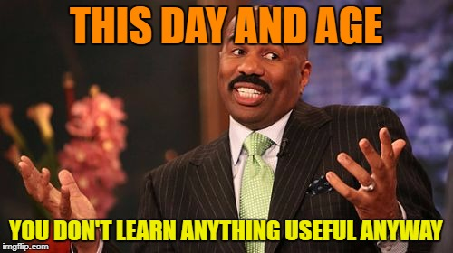 Steve Harvey Meme | THIS DAY AND AGE YOU DON'T LEARN ANYTHING USEFUL ANYWAY | image tagged in memes,steve harvey | made w/ Imgflip meme maker