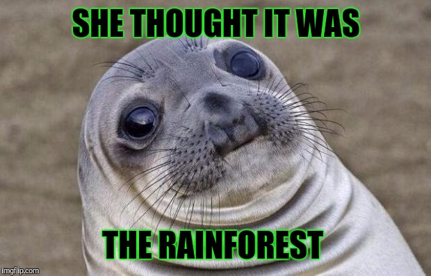 Awkward Moment Sealion Meme | SHE THOUGHT IT WAS THE RAINFOREST | image tagged in memes,awkward moment sealion | made w/ Imgflip meme maker