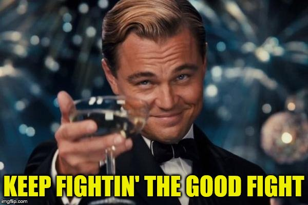 Leonardo Dicaprio Cheers Meme | KEEP FIGHTIN' THE GOOD FIGHT | image tagged in memes,leonardo dicaprio cheers | made w/ Imgflip meme maker