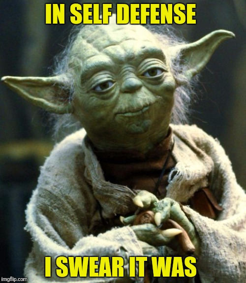 Star Wars Yoda Meme | IN SELF DEFENSE I SWEAR IT WAS | image tagged in memes,star wars yoda | made w/ Imgflip meme maker