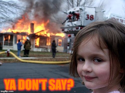 Disaster Girl Meme | YA DON'T SAY? | image tagged in memes,disaster girl | made w/ Imgflip meme maker