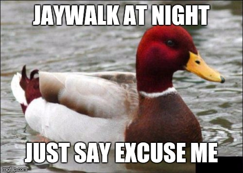 Malicious Advice Mallard Meme | JAYWALK AT NIGHT JUST SAY EXCUSE ME | image tagged in memes,malicious advice mallard | made w/ Imgflip meme maker