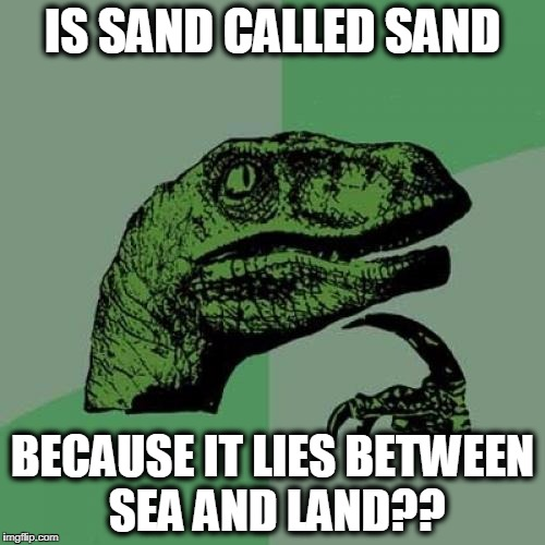 Just randomly thinking about sand | IS SAND CALLED SAND BECAUSE IT LIES BETWEEN SEA AND LAND?? | image tagged in memes,philosoraptor | made w/ Imgflip meme maker