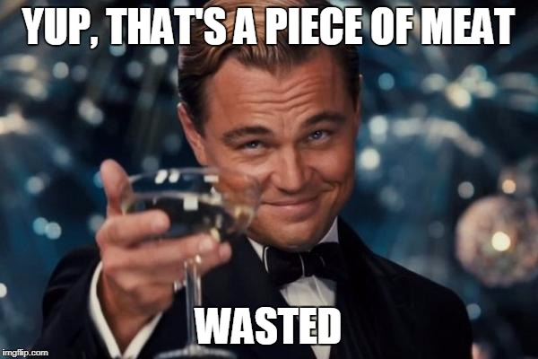 Leonardo Dicaprio Cheers Meme | YUP, THAT'S A PIECE OF MEAT WASTED | image tagged in memes,leonardo dicaprio cheers | made w/ Imgflip meme maker