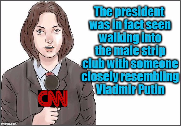 reporter | The president was in fact seen walking into the male strip club with someone closely resembling Vladmir Putin | image tagged in reporter | made w/ Imgflip meme maker