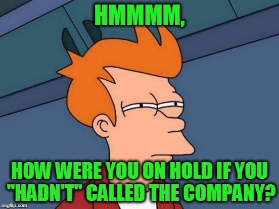 "Futurama Fry Meme | HMMMM, HOW WERE YOU ON HOLD IF YOU ""HADN'T"" CALLED THE COMPANY? 