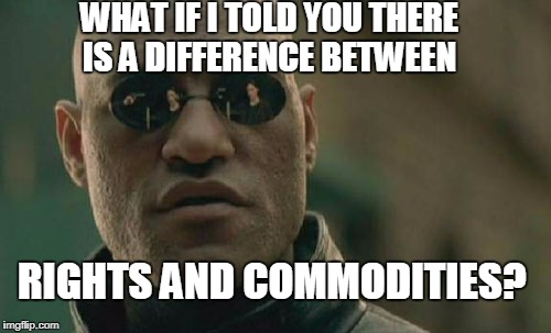 To the entitlement crowd  | WHAT IF I TOLD YOU THERE IS A DIFFERENCE BETWEEN RIGHTS AND COMMODITIES? | image tagged in memes,matrix morpheus,entitlement,welfare,healthcare,water | made w/ Imgflip meme maker