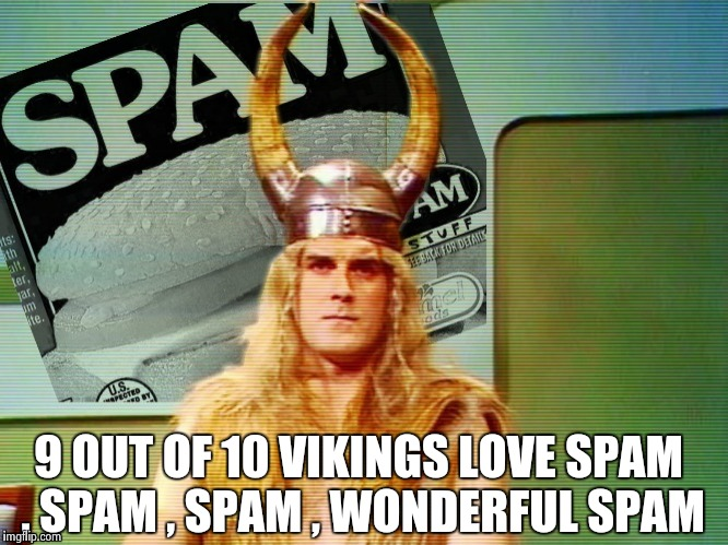Spam , spam , spam . . . | 9 OUT OF 10 VIKINGS LOVE SPAM , SPAM , SPAM , WONDERFUL SPAM | image tagged in spam | made w/ Imgflip meme maker