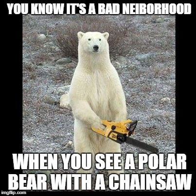 Chainsaw Bear Meme | YOU KNOW IT'S A BAD NEIBORHOOD WHEN YOU SEE A POLAR BEAR WITH A CHAINSAW | image tagged in memes,chainsaw bear | made w/ Imgflip meme maker